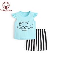 儿童薄款衣服 宝宝夏装两件套潮 女童洋气花边袖背心套装