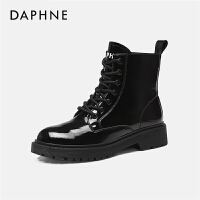 Daphne/达芙妮英伦风短靴女机车靴平底靴亮皮马丁靴前系带---