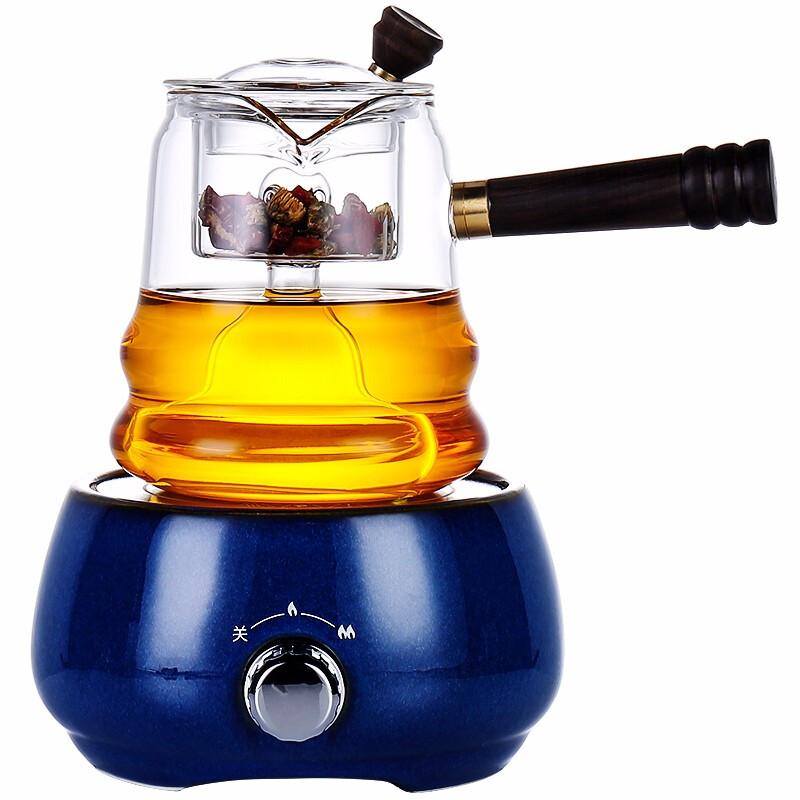 唐丰侧把煮茶器透明蒸煮茶壶家用简约电陶炉套组电热茶炉普洱黑茶 加高木质壶钮好拿捏
