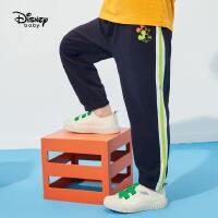 【2件2.4折价:50.1元】迪士尼童装男童防蚊裤子2021夏季新款儿童针织拼接宽松长裤卡通洋气潮