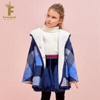 [2件5折到手价:449.5]法纳贝儿童装女童英伦风加绒保暖中长款蓝色连帽格子大衣EH4A01