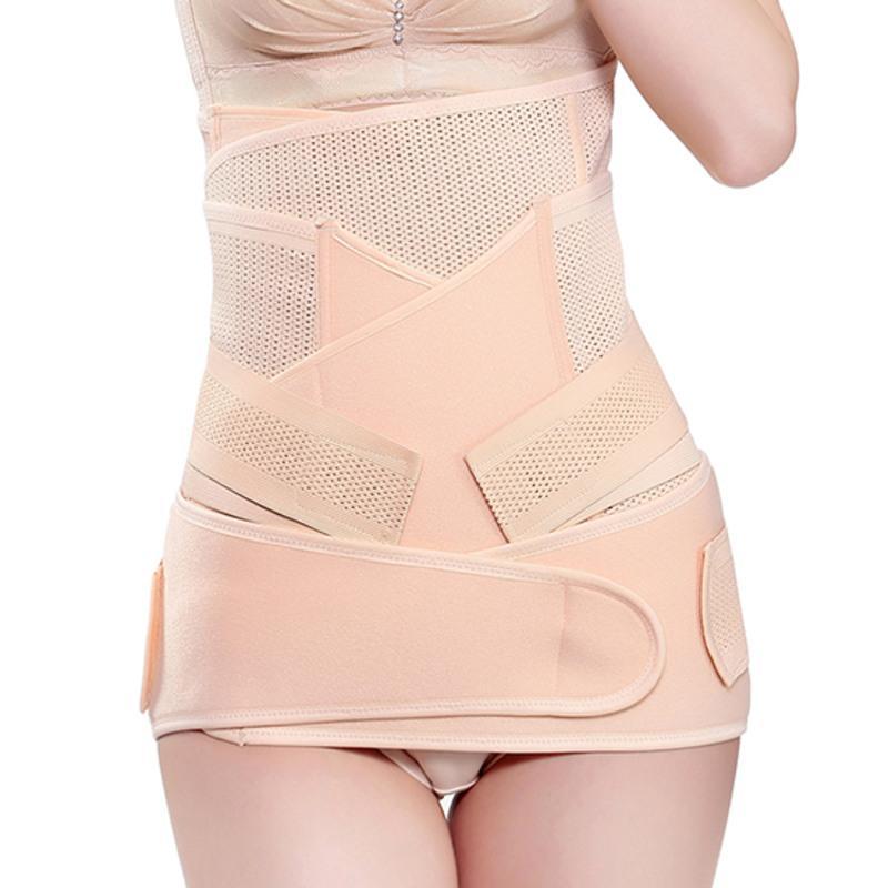 产后收腹带孕妇大码200斤 绷带加肥加大腹带月子产妇顺产专用型 网状三件套(下单送收腹裤)