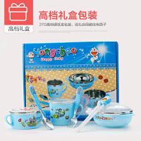 婴儿童碗餐具宝宝学习训练筷子叉勺套装带盖碗辅食