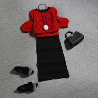 女神套装秋2018两件套毛衣背心裙早初秋季女新款针织网红时尚洋气 红衫+黑裙 均码