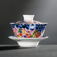 唐丰珐琅彩盖碗白玉瓷泡茶盖碗单个茶碗家用功夫冲茶器