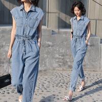 无袖牛仔连体裤女夏装新款韩版高腰显瘦街头时尚休闲减龄连体衣潮
