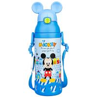 迪士尼不锈钢保温壶小学生卡通背带双盖两用吸管杯儿童保温杯500ml