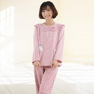 金丰田女士睡衣 家居服新款 春秋长袖圆点卡通睡衣套装1808