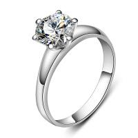 梦克拉 18K金钻石戒指钻戒女戒6爪30分钻石结婚求婚情侣女款婚戒缘美