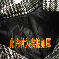 秋冬韩版中长款赫本风格子毛呢外套学生宽松千鸟格休闲呢子大衣女 (加厚版)