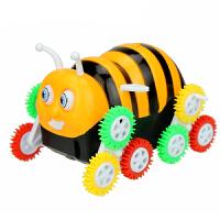 小蜜蜂电动翻斗车儿童卡通翻转车宝宝玩具车特技攀爬车 蜜蜂翻斗车(送两节电池) 送两节电池