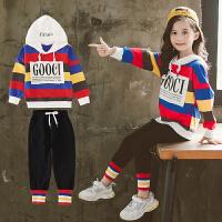 2019新款儿童洋气衣服女孩运动卫衣两件套女童春秋装套装