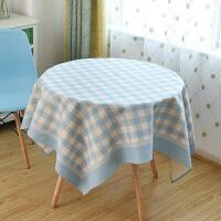 文艺清新格子棉麻餐桌布艺 圆形方形长方形桌布茶几布台布盖布定制
