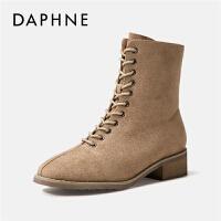 【达芙妮限时2件2折】Daphne/达芙妮马丁靴女2019新款百搭潮ins韩版系带粗跟短靴秋款---