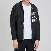 NIKE耐克男装外套2019新款黑色连帽针织舒适休闲跑步夹克运动服BQ8263