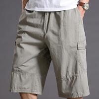 夏季高腰七分裤宽松肥佬运动短裤加肥加大多口袋休闲中裤薄款