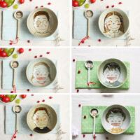可爱拉面碗亲子情侣家用餐具景德镇陶瓷釉下彩手绘汤碗大号