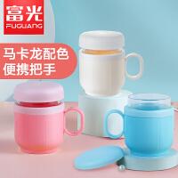富光玻璃杯双层带把手创意潮流水杯男女士办公室泡茶杯子带盖茶杯