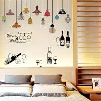 吊灯贴画墙贴天花板背景装饰贴纸贴画欧式创意酒瓶摆设自粘壁纸 吊灯酒瓶摆设 特大