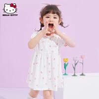 【2件2.3折:42.4元】hellokitty女童polo连衣裙2021夏季新款公主裙针织时尚宝宝儿童装