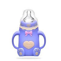 20181112112100273赫尼思宽口径玻璃奶瓶带手柄硅胶套防摔防胀气婴儿奶瓶母婴用品