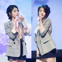 小西装女外套韩版秋季李智恩韩国明星同款格子英伦复古长袖西服 灰色
