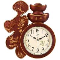 电子表挂墙客厅挂钟卧室办公静音壁钟表创意中风福字用电子石英钟木纹色金边19英寸直径48厘