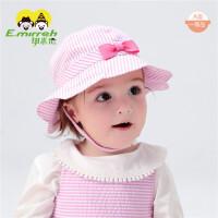 夏季婴儿帽子宝宝太阳帽粉色蝴蝶结公主女童遮阳帽凉帽