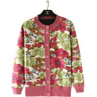 秋冬中老年人奶奶装圆领加绒加厚毛衣女士打底衫针织衫开衫花外套