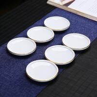唐丰玉白瓷杯垫家用功夫茶道配件描金陶瓷杯托6个装隔热垫茶垫托