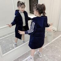 童装女童冬装棉袄中长款加厚儿童冬季小女孩棉衣外套潮 蓝色(金丝绒袖条棉衣) 110码(适合身高100厘米)
