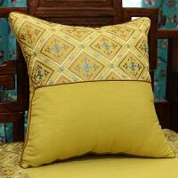 中式古典棉麻刺绣抱枕靠垫套真皮沙发大靠背枕套美式腰枕含芯定制