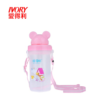 儿童水壶pp材质宝宝喝水壶水具带吸管360mL便携背带式F50ADL 颜色随机
