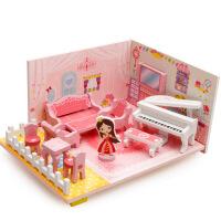 儿童木制益智玩具音乐客厅玩具宝宝拼装益智拼图过家家拼装 3D拼装.音乐家客厅