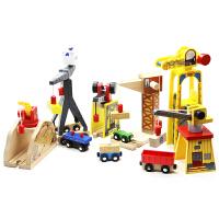 木质火车轨道场景配件吊车起重机吊机升降机男孩玩具 可另配轨道