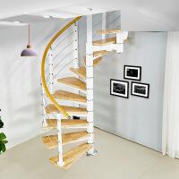 旋转楼梯阁楼复式楼室内楼梯中柱旋转楼梯圆形钢木整体楼梯扶手板