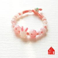 六一儿童节520�L道原�� 新年�_�\祈愿 招财守护樱花兔琉璃手链/本命年红绳手链520礼物母亲节
