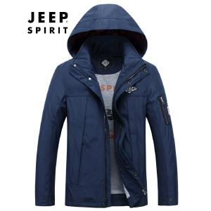 战地吉普AFS JEEP男装户外冲锋衣 男士可脱卸帽夹克 中长款薄款登山服冲锋衣