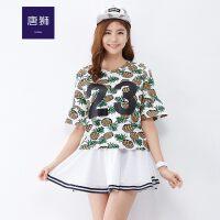 【秒杀价12.9元,仅限1.22日】唐狮(TonLion)女圆领字母花卉印花短袖T恤
