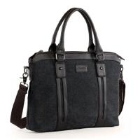男士手提包商务包斜挎背包14寸 15寸笔记本电脑包 潮男包帆布包单肩包