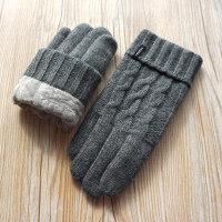 秋冬新品男士羊毛毛线针织拧花双层加厚加绒触屏保暖手套