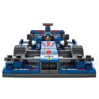 兼容乐高积木快乐小鲁班F1方程式蓝光赛车拼装拼插玩具男孩城市 蓝光F1赛车