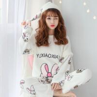 珊瑚绒睡衣女冬韩版清新学生加厚卡通法兰绒家居服套装秋