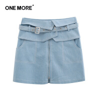 【520告白季】ONEMORE夏季新品高腰显瘦浅蓝色A字裙腰封牛仔半身裙女短裙