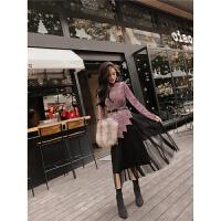 网红两件套装俏皮冬季韩版女装不规则丝绒上衣高腰大摆半身裙纱裙 均码