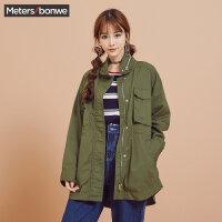 美特斯邦威外套女2017秋季新款军绿色韩版宽松bf风衣大衣学生潮