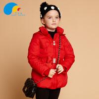 三点水童装冬装上新女童时尚休闲羽绒服中大童中长款外套