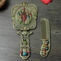欧式复古玫瑰手拿化妆镜随身携带手柄镜子便携大号镜子梳子套装