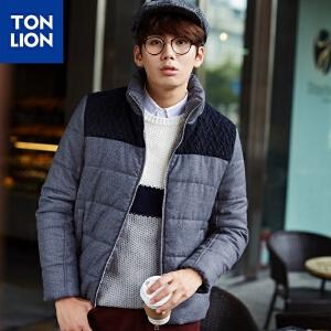 【2件3折价125.7元】唐狮冬(TonLion)男拼毛织立领棉衣