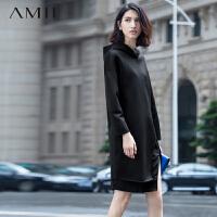 AMII[极简主义]秋冬连帽长袖茧型空气层开叉摆大码连衣裙11591312